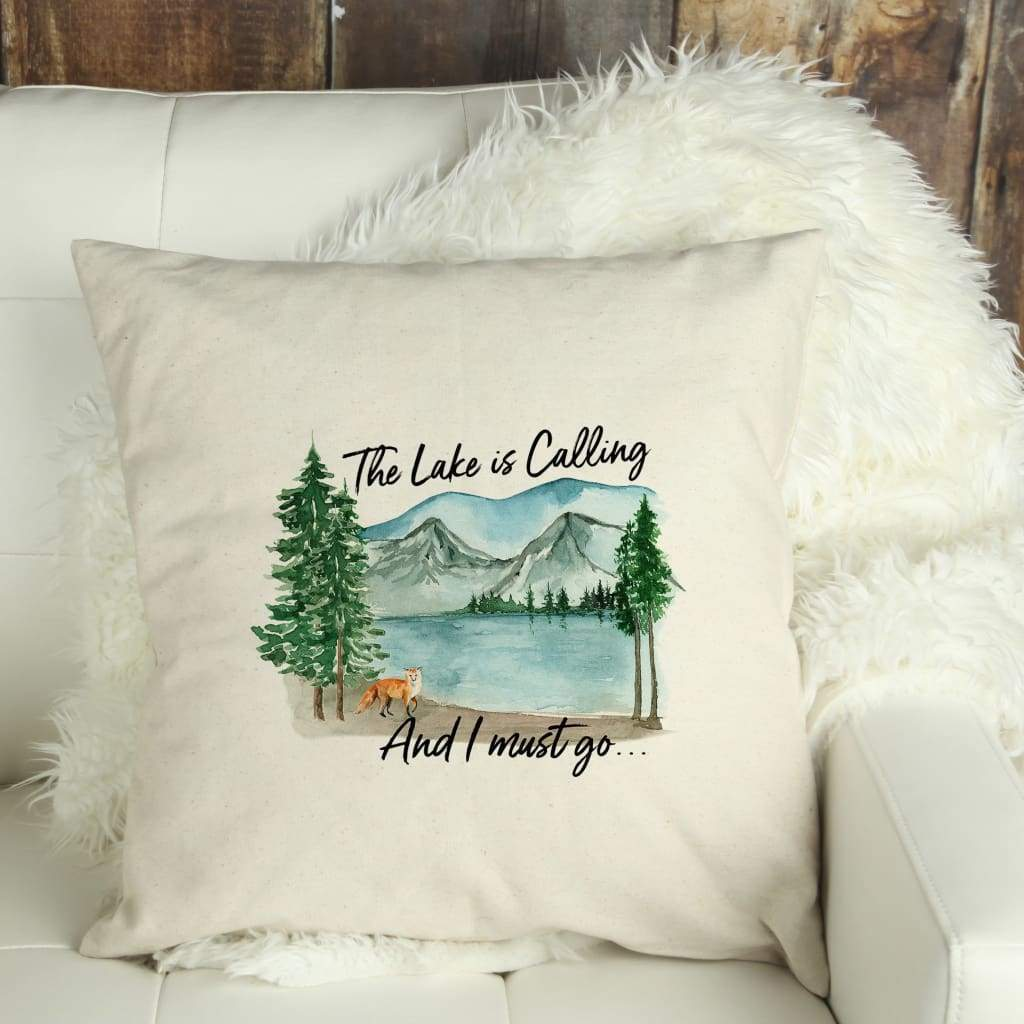 Lake House Decor Throw Pillow Covers - Watercolor The Lake is Calling
