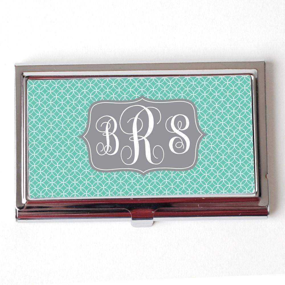 Mint Monogram Business Card Holder - Circles Gray Card Case