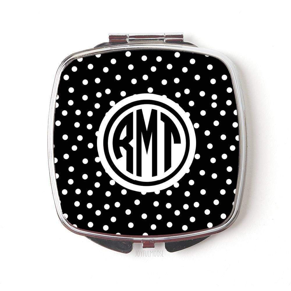 Monogram Bridesmaid Gift - Monogram Compact Mirror - Polka Dot Purse Mirror