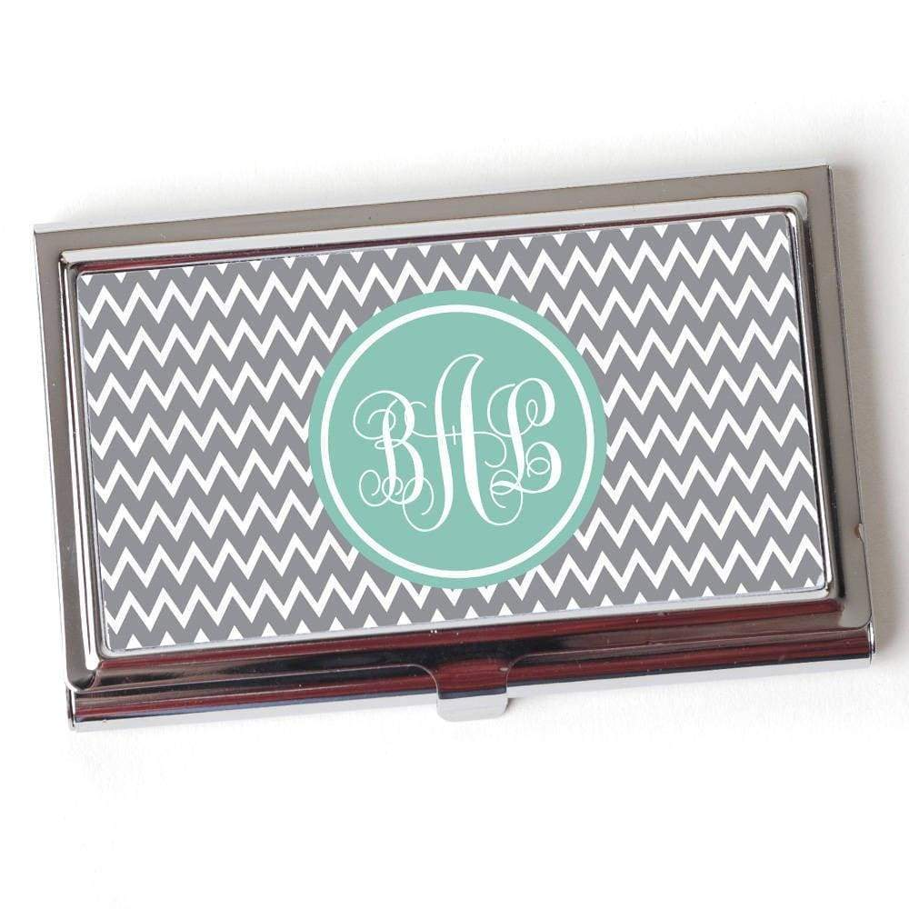 Monogram Business Card Holder Mint Gray Chevron Card Case