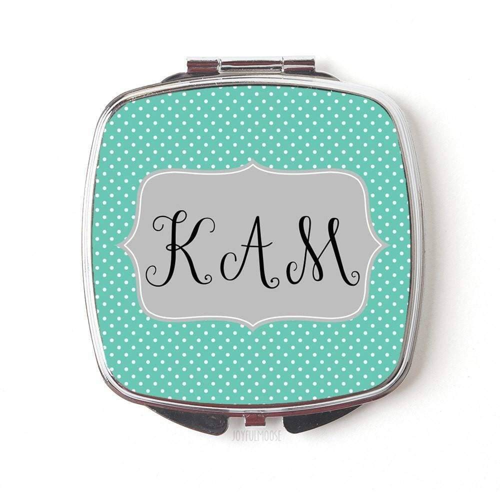 Monogram Compact Mirror - Monogram Gift for Her - Mint Gray Dots Personalized Compact mirror