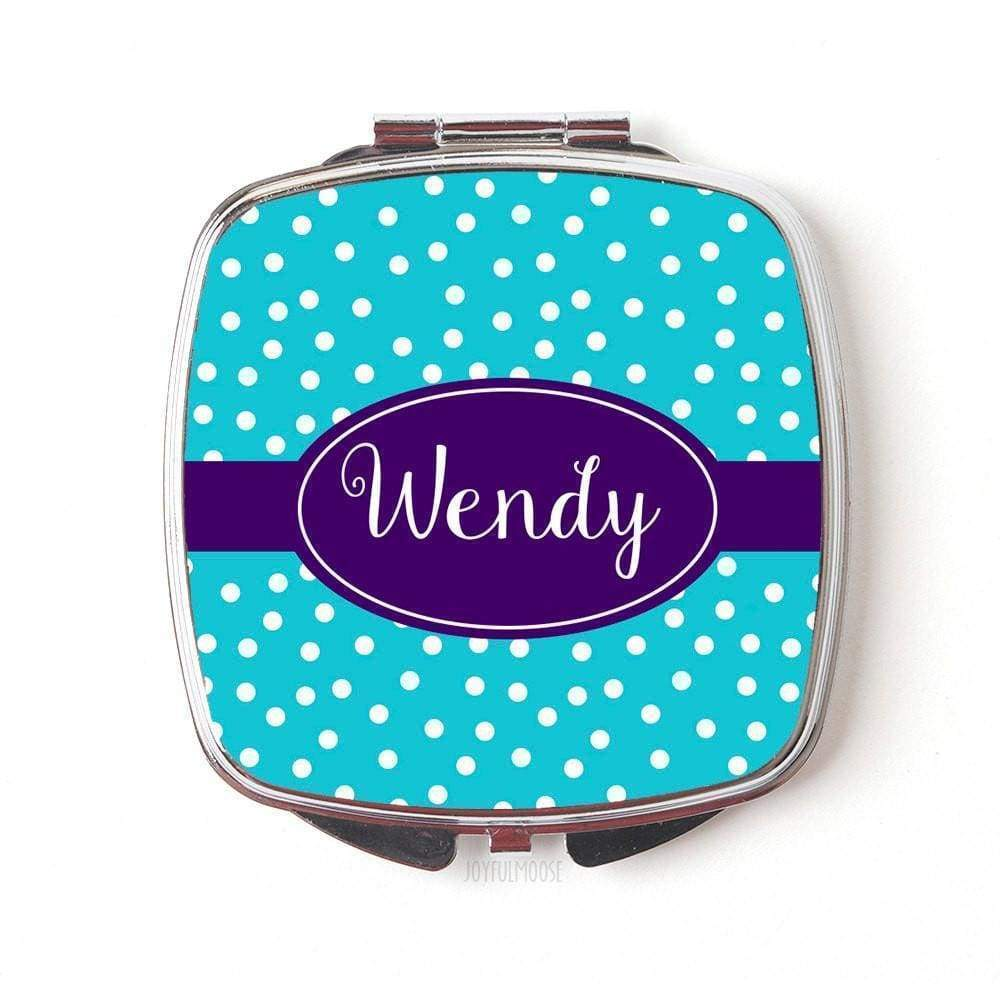 Personalized Compact Mirror - Turquoise Purple Maid of Honor Gifts