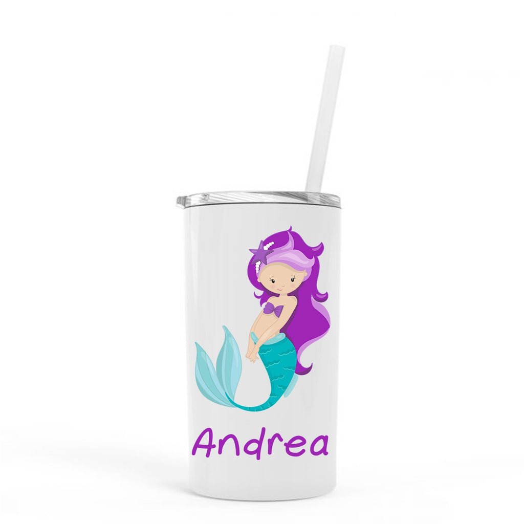 Personalized Mermaid Skinny Tumbler, Kids Stainless Steel Tumblers w/ Straw, Cup with Straw, tumbler personalized, Mermaid Water Bottle