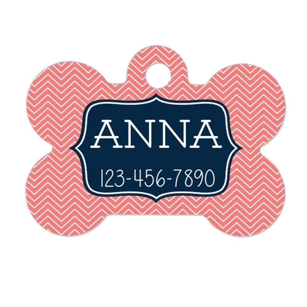Pet Tag - Pet ID Tag - Personalized Pet Tag - Custom Pet Name Tag - Coral Chevron Navy Blue