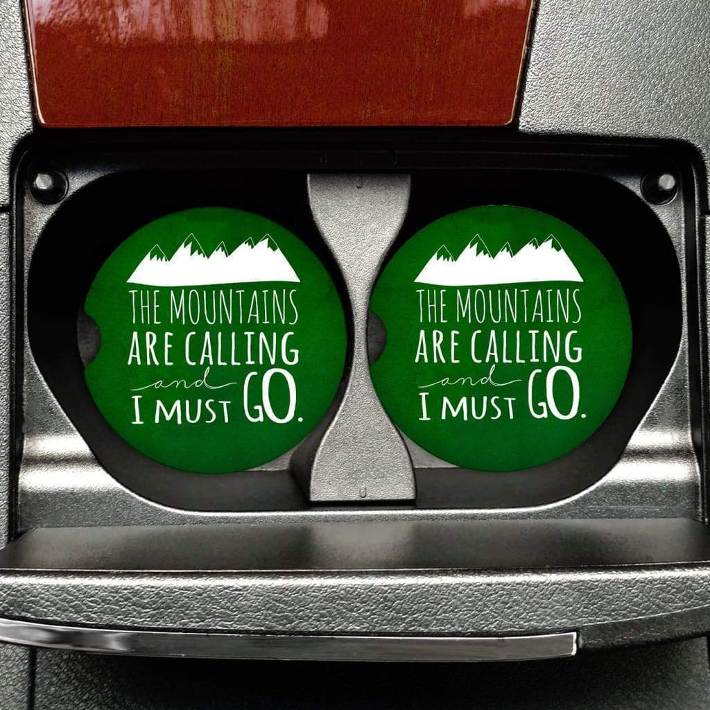 Quote Sandstone Car Coaster - The Mountains are Calling and I must Go