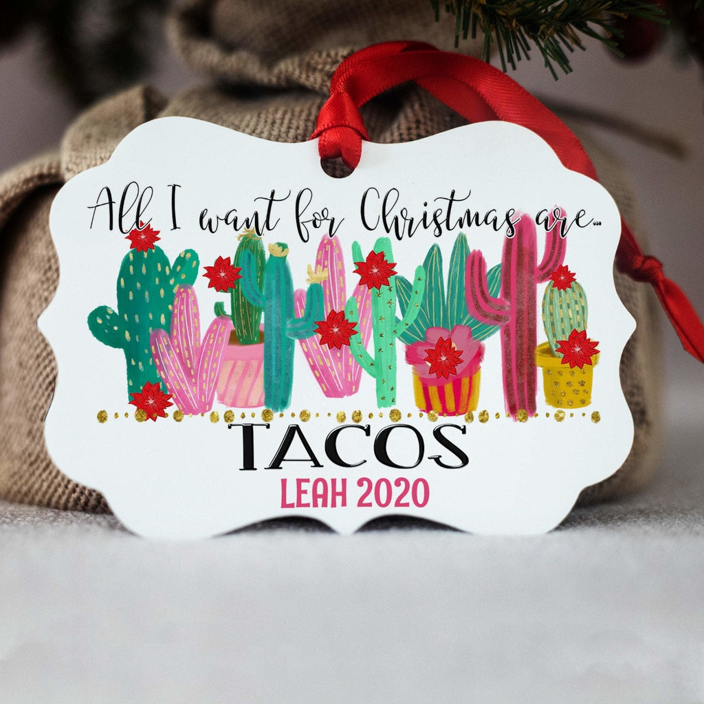 Taco Christmas Ornament, Funny Food Ornament, All I Want for Christmas are Tacos, Girlfriend Gift, Stocking Stuffer