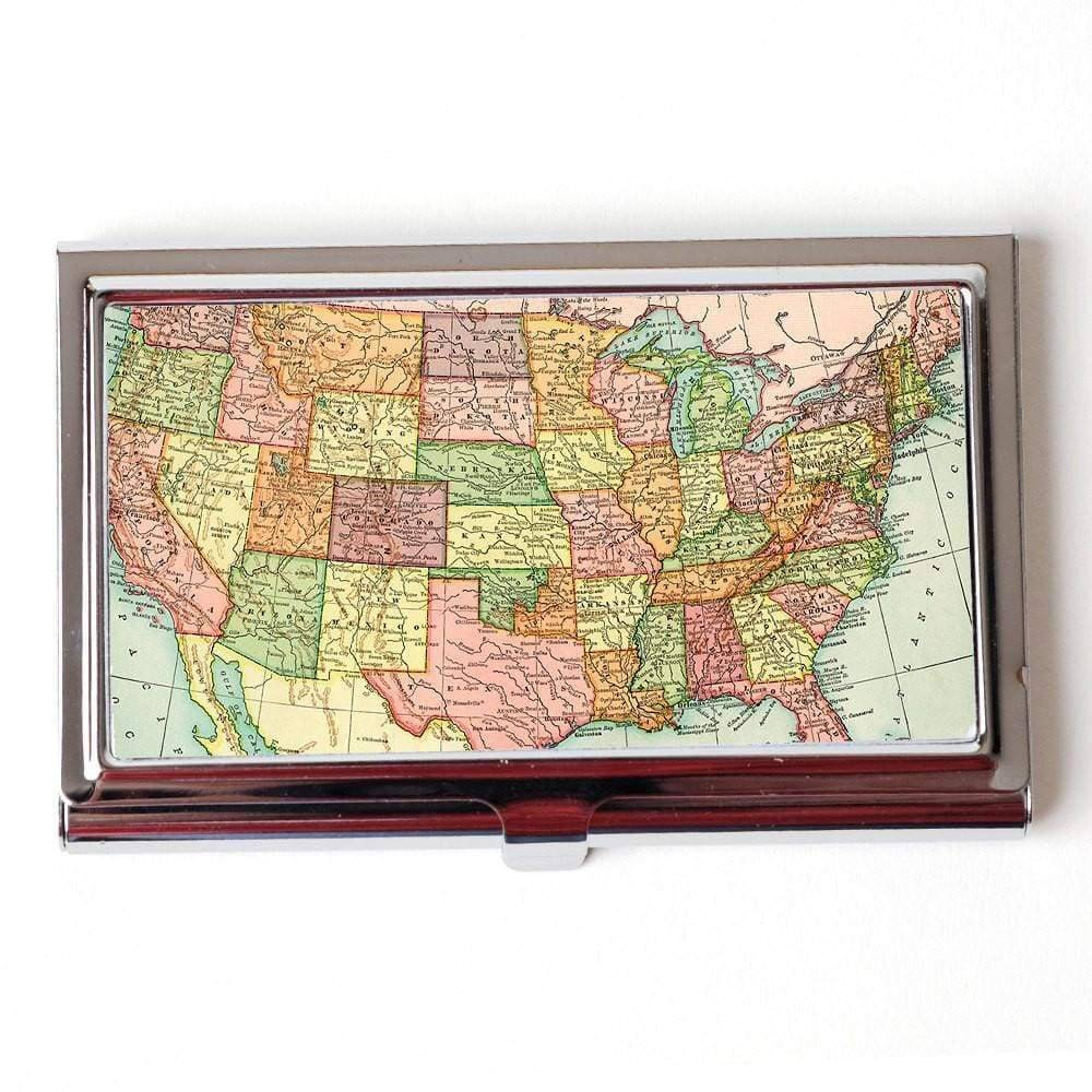 Vintage US Map Business Card Case