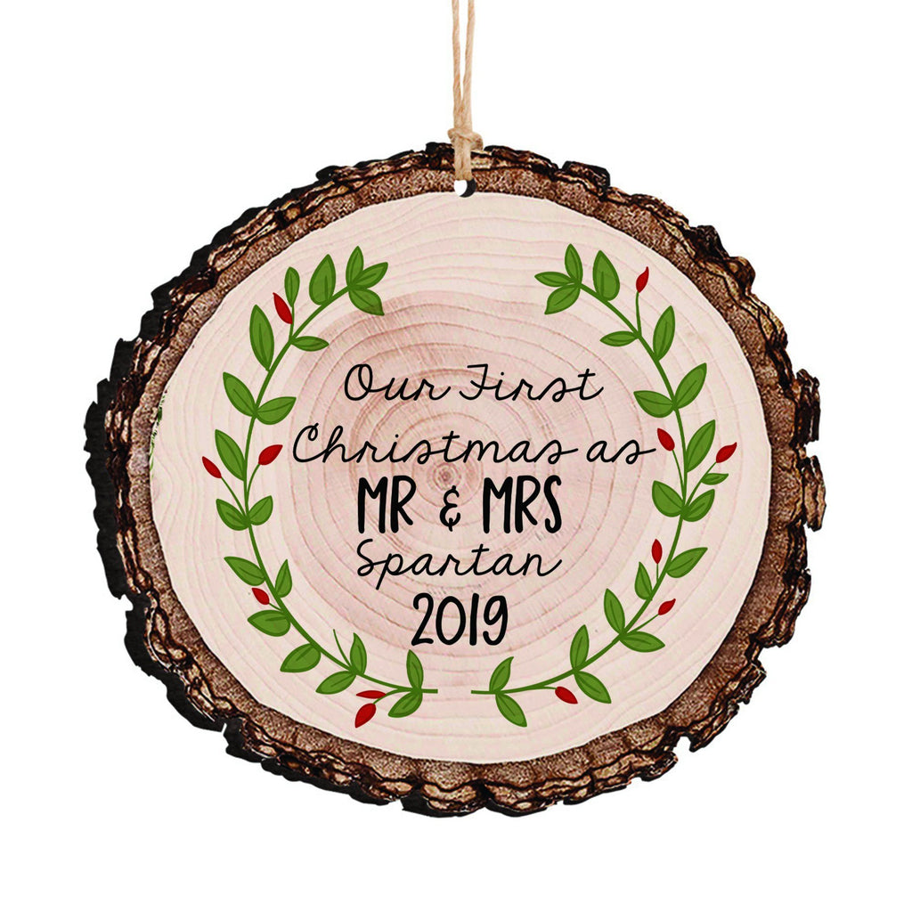 Wedding Gift, Our First Christmas as Mr & Mrs Christmas Ornament, Personalized Rustic Wood Slice Tree Ornament