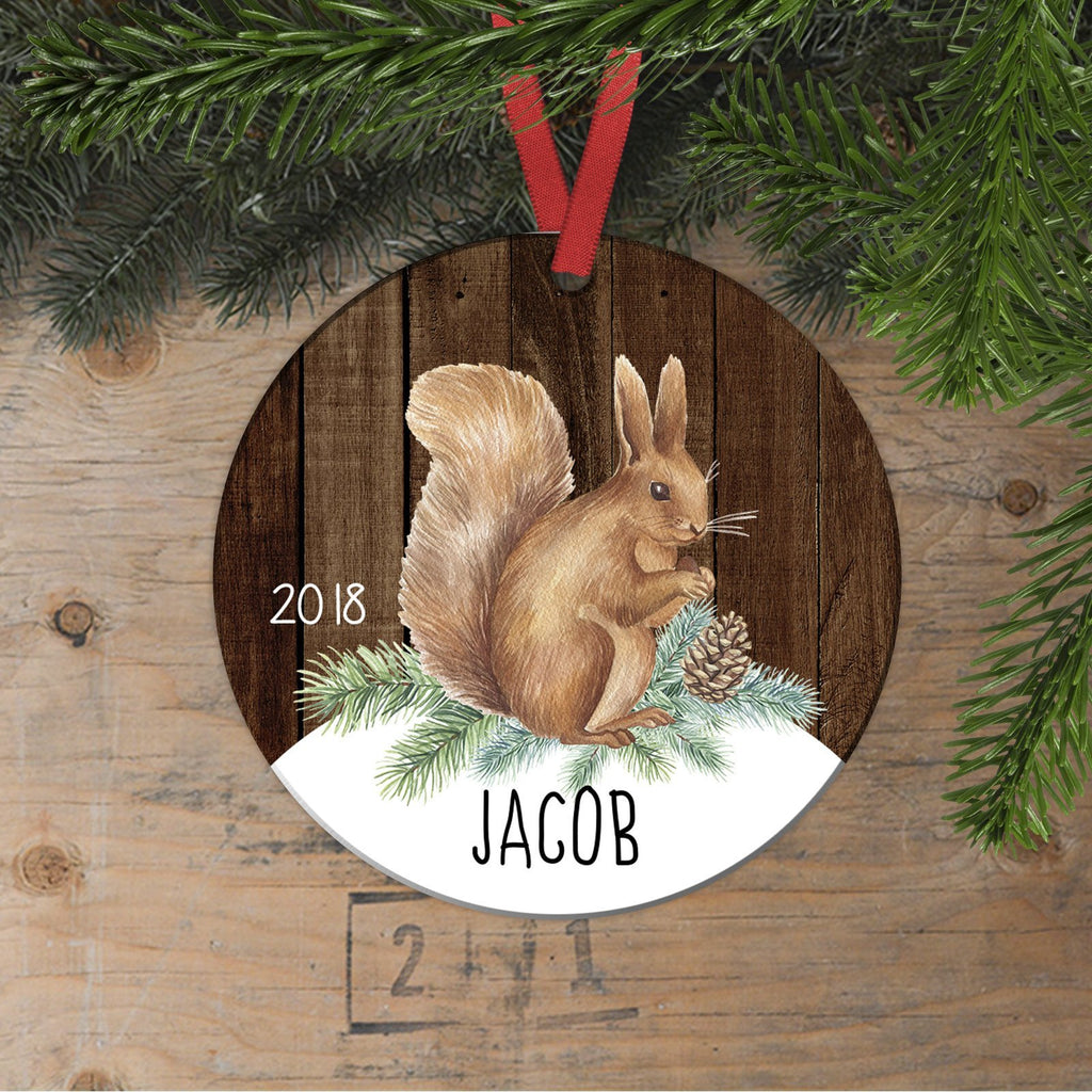 Woodland Christmas Ornament for Boys - Watercolor Squirrel Wildlife Custom Gift