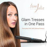 Professional Hair Straightener-Infrared-Ionic Pro Nano-Titanium Tourmaline Flat Iron by FemJolie: Bonus Gift Black Travel Bag- Best for 2 in 1 Curling and Straightening- Adjustable Temp, 2 Yr Warranty