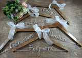 Hanger set, walnut hangers on wooden background, wire hangers, personalized wire hangers