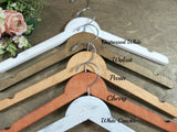 5 wood hangers, brown background, distressed white, walnut, pecan, cherry, white crackle, handmade hangers