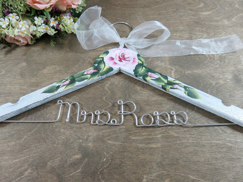 White crackle, hand painted roses, wedding hanger, silver wire name, Mrs Ross, white bow, flowers