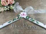 wedding hanger, Mrs. Ross, handmade hanger, pink roses hand painted, white crackle, white bow, silver wire