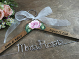 Bride walnut stained wood and wire engraved hanger, pink hand painted rose, white ribbon