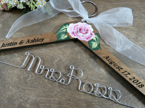Mrs Ross, walnut stained hanger with white bow and Hand Painted Rose
