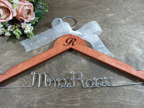 R Mrs. Ross, engraved and monogrammed, cherry stained wooden hanger, white bow, silver wire