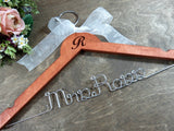 R Mrs. Ross, mrs wooden hanger with white bow, Initial and flower background, silver wire, white ribbon