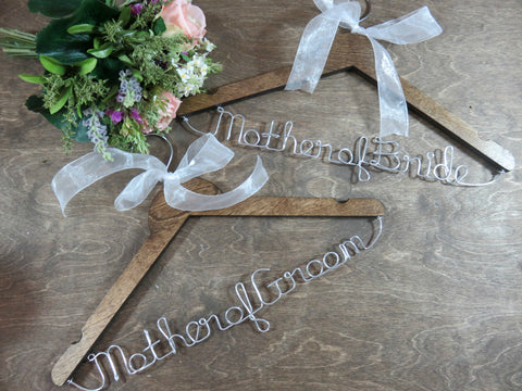 Wood hangers, mother of bride hanger, mother of groom hanger, walnut hangers, set of 2,
