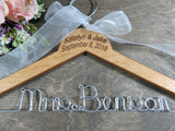 Mrs Benson, pecan handmade hanger, engraved names and date
