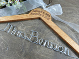 Mrs Benson, pecan stained wood, handmade hanger, wire hanger with white bow