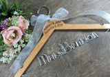 Mrs Benson, engraved names and date, pecan stained hanger, handmade hanger with white bow