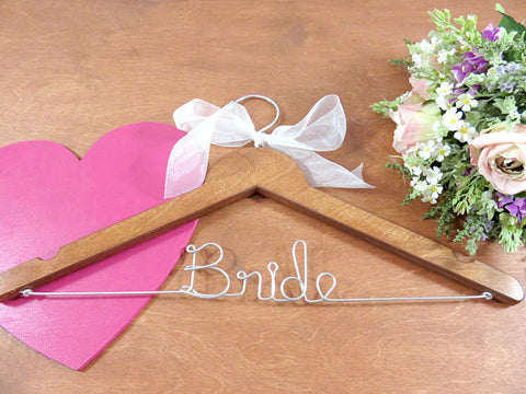 Bride wedding hanger, wooden hanger, wire hanger, white bow, pink flower