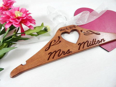 May 6, 2016 Mrs Milton wooden heart bridal hanger