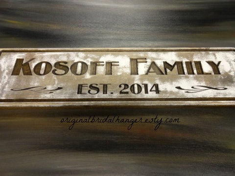 Kosoff Family EST 2014 wood family sign