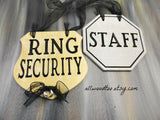 rustic wedding signs, set of two signs, gold ring security signs, silver staff sign, ring bearer signs, silver wire rings, black ribbons, gray background