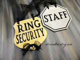 wedding ring bearer, sign set, 2 signs, gold ring security sign, silver staff sign, silver wire rings, black ribbon, gray background, ring bearer signs