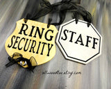 ring bearer ideas, ring security gold sign, black lettering, silver staff sign, black ribbon, silver wire rings, wedding signs