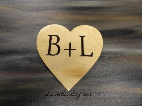 B and L wooden heart plaque
