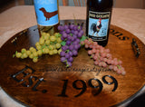 The Johnsons Est. 1999 wine barrel tray, wedding gifts, grapes, wine