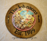 The Johnsons Est. 1999 engraved tray with plate of food
