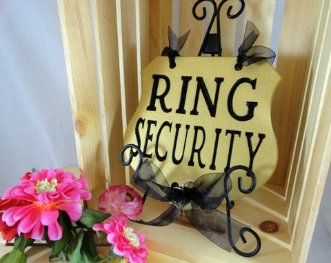 funny ring bearer sign, ring security sign, black ribbon, gold sign, pink flowers