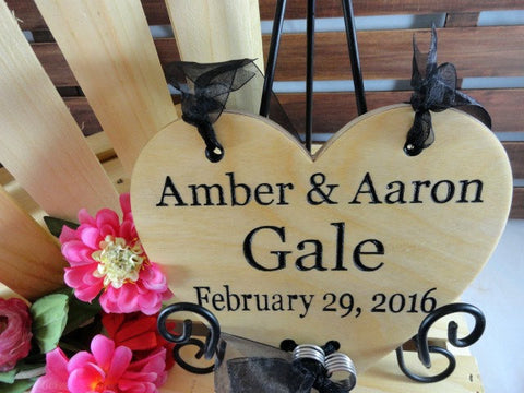 Amber and Aaron, Gale, February 29 2016, wood wedding sign, ring bearer sign, black ribbon, pink flowers