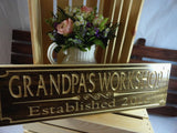 Grandpas Workshop Established 2016 handmade dark wood plaque decor