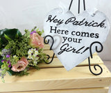 Hey Patrick Here Comes Your Girl alternative ring bearer pillow with a rustic chic feel