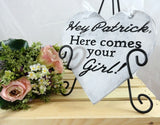 Hey Patrick Here Comes Your Girl wooden heart shaped alternative ring bearer sign on black stand