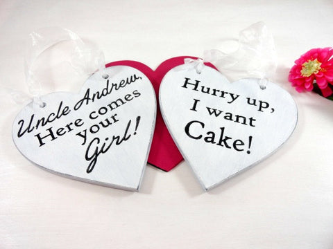 Uncle Andrew Here Comes Your Girl, Hurry Up I Want Cake cute ring bearer signs