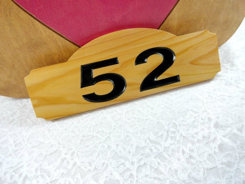 52 cute home address plaque, cedar wood, black numbers, pink heart, white lace