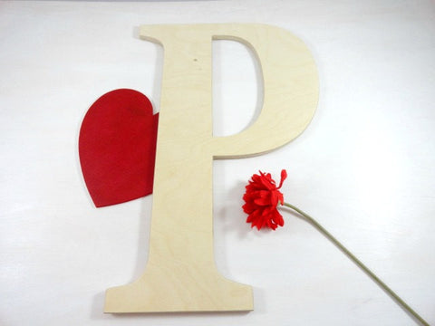 P letter custom alternative guest book handcrafted, red flower background