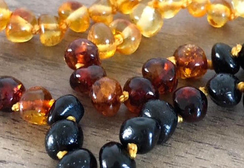Amber teething necklace - close up of beads