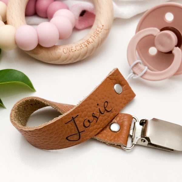 LEATHER Dummy Holder - Accessories - ONE.CHEW.THREE Boutique teething, modern accessories