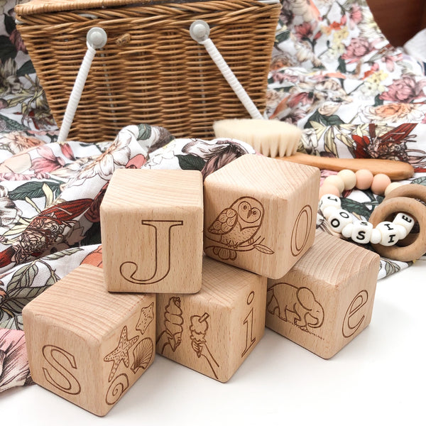 Personalised Wooden Baby Blocks - Original