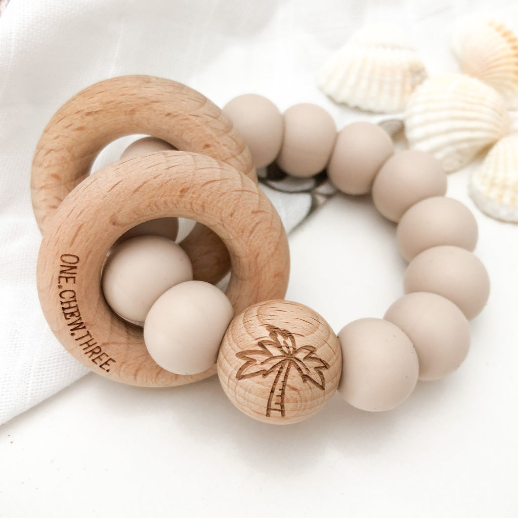 SUMMER Silicone and Beech Wood Rattle Teether