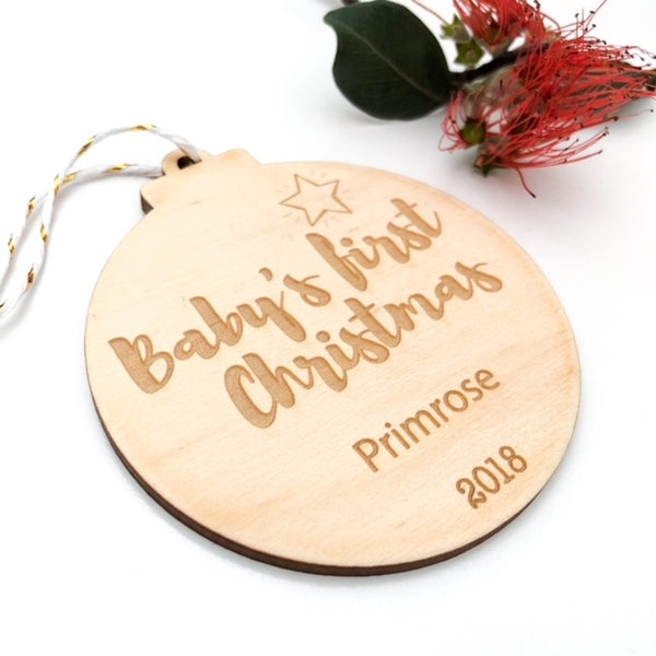 Personalised Christmas Bauble - Baby's First Christmas -  - ONE.CHEW.THREE Boutique teething, modern accessories