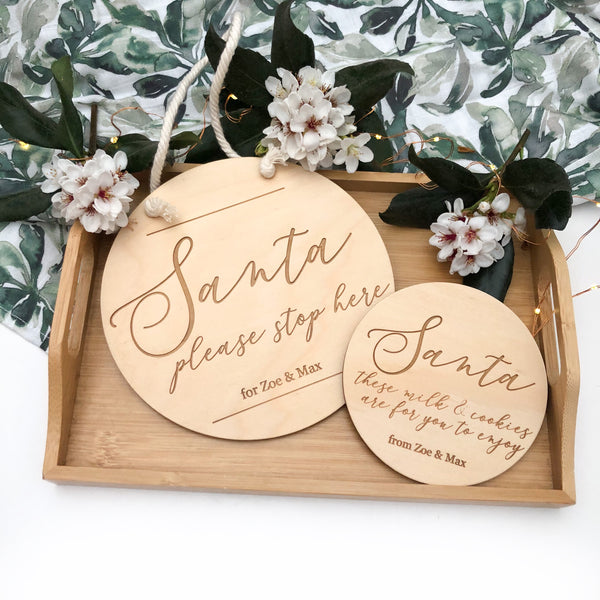 Personalised Santa Please Stop Here and Milk & Cookies Plaque Set (various designs)
