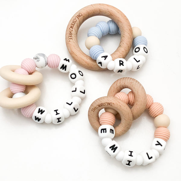 A Personalised Silicone BEEHIVE NAME Teether